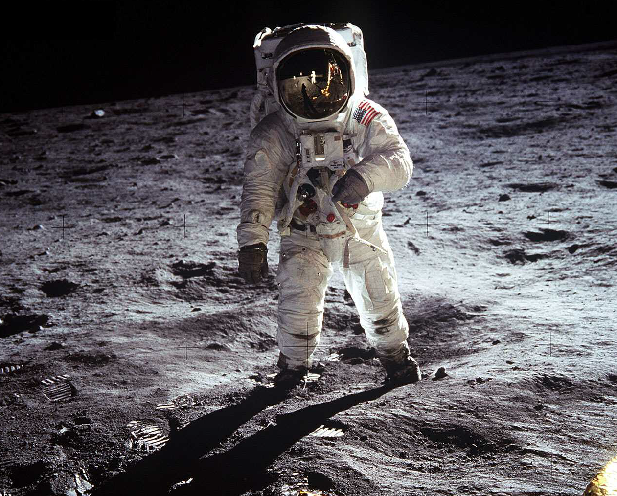 Picture of Neil Armstrong on the moon.